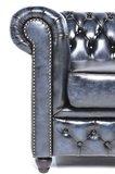 Chesterfield Fauteuil Original Leer | Antiek Blauw | 12 jaar garantie_