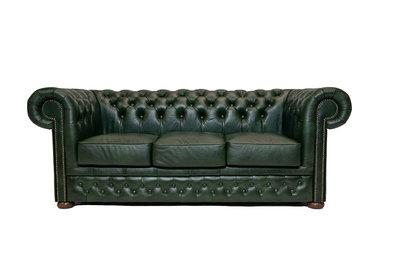 Chesterfield Bank  First Class Leer   3-zits   Cloudy Groen  12 jaar garantie